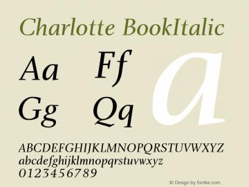 Charlotte BookItalic Version 1.0 Font Sample
