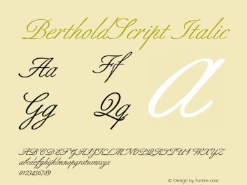 BertholdScript Italic 1.0 Font Sample
