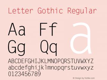 Letter Gothic Regular Version 1.02a Font Sample