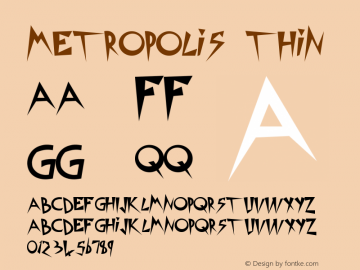 Metropolis Thin Version 1.000 2010 initial r Font Sample