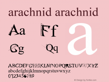 arachnid arachnid 1 Font Sample