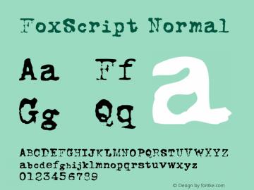 FoxScript Normal Macromedia Fontographer 4.1.5 18/7/01 Font Sample