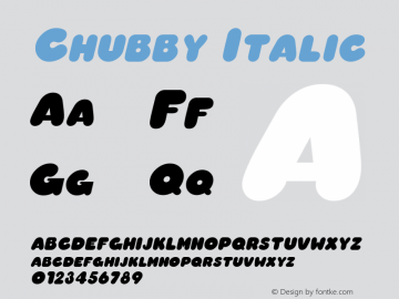 Chubby Italic The IMSI MasterFonts Collection, tm 1995, 1996 IMSI (International Microcomputer Software Inc.) Font Sample