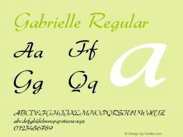Gabrielle Regular Macromedia Fontographer 4.1 09/03/2001 Font Sample