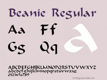 Beanie Regular Unknown Font Sample