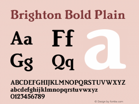 Brighton Bold Plain Version 005.000 Font Sample