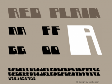 RED Plain Unknown Font Sample