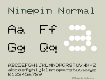 Ninepin Normal Altsys Fontographer 4.1 12/22/94 Font Sample