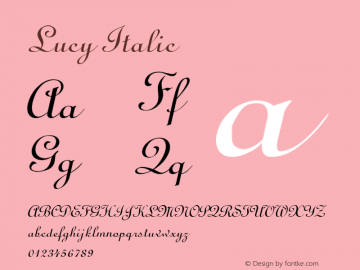 Lucy Italic 1.0 Tue Jul 27 11:03:19 1993 Font Sample