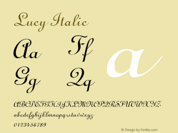 Lucy Italic Altsys Fontographer 4.1 5/10/96 Font Sample