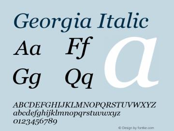 Georgia Italic Unknown Font Sample