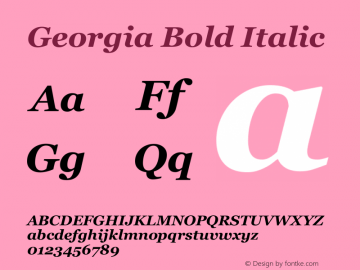 Georgia Bold Italic Unknown Font Sample