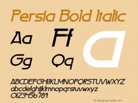 Persia Bold Italic 1.0 Wed Jun 14 11:20:24 1995 Font Sample