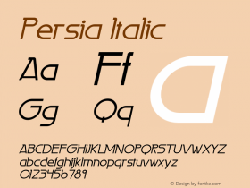 Persia Italic 1.0 Tue Jun 06 16:17:37 1995 Font Sample