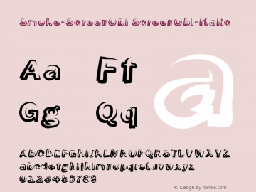 Smoke-ScreenObl ScreenObl-Italic Version 1.0 Font Sample