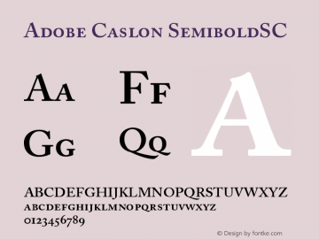 Adobe Caslon SemiboldSC Version 001.001 Font Sample