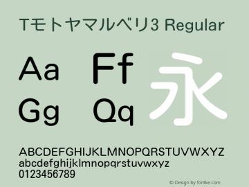 Tモトヤマルベリ3 Regular Version T-2.10 Font Sample
