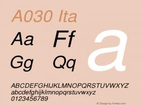 A030 Ita Version 1.05 Font Sample