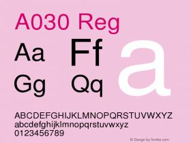 A030 Reg Version 1.05 Font Sample