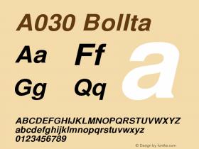 A030 BolIta Version 1.05 Font Sample
