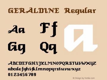 GERALDINE Regular Altsys Fontographer 3.5  3/17/97 Font Sample