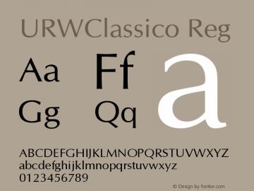 URWClassico Reg Version 1.05 Font Sample