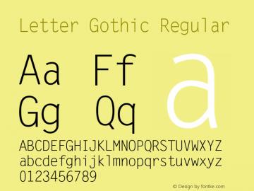 Letter Gothic Regular Version 1.00 Font Sample