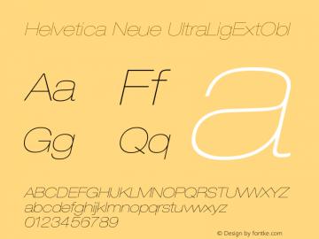 Helvetica Neue UltraLigExtObl Version 001.000 Font Sample