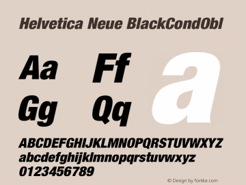 Helvetica Neue BlackCondObl Version 001.000图片样张