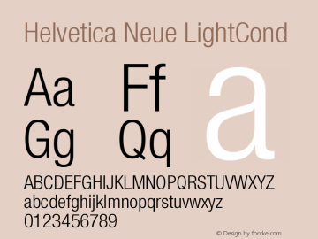 Helvetica Neue LightCond Version 001.000图片样张