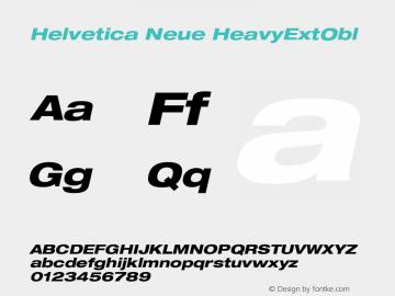 Helvetica Neue HeavyExtObl Version 001.000 Font Sample