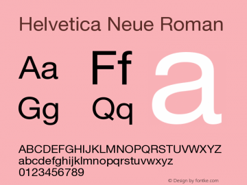 Helvetica Neue Roman Version 001.101图片样张