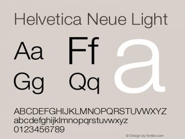 Helvetica Neue Light Version 001.001图片样张