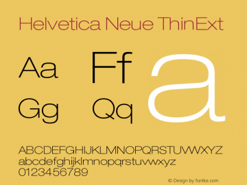 Helvetica Neue ThinExt Version 001.000图片样张