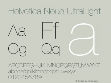 Helvetica Neue UltraLight Version 001.001图片样张