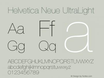 Helvetica Neue UltraLight Version 001.001 Font Sample
