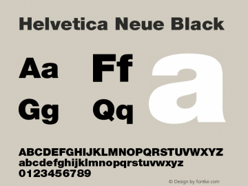 Helvetica Neue Black Version 001.001图片样张
