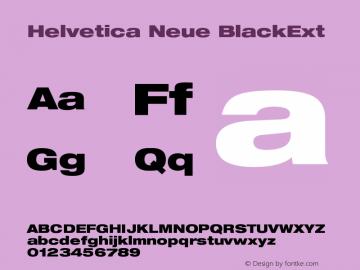 Helvetica Neue BlackExt Version 001.000 Font Sample