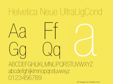 Helvetica Neue UltraLigCond Version 001.000图片样张