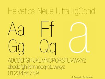 Helvetica Neue UltraLigCond Version 001.000 Font Sample