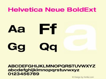 Helvetica Neue BoldExt Version 001.000 Font Sample