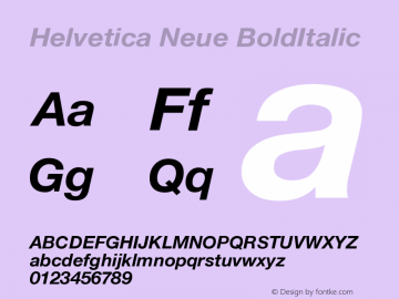 Helvetica Neue BoldItalic Version 001.101图片样张