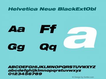 Helvetica Neue BlackExtObl Version 001.000 Font Sample