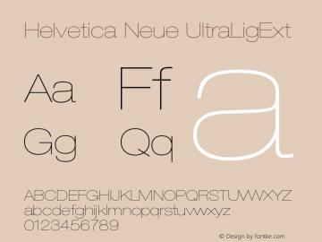 Helvetica Neue UltraLigExt Version 001.000 Font Sample