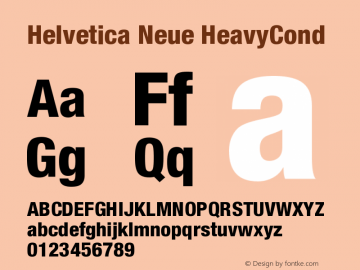 Helvetica Neue HeavyCond Version 001.000 Font Sample