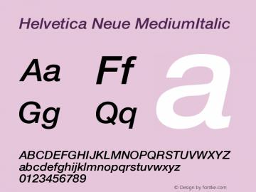 Helvetica Neue MediumItalic Version 001.101 Font Sample