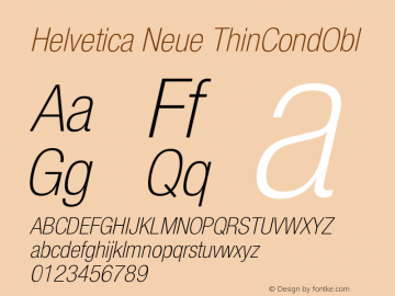 Helvetica Neue ThinCondObl Version 001.000图片样张
