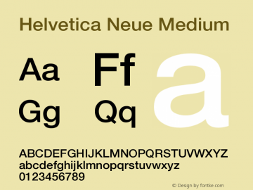 Helvetica Neue Medium Version 001.001图片样张