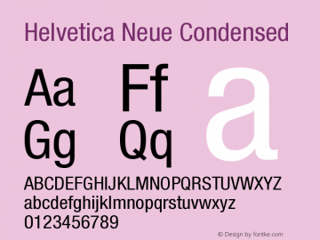 Helvetica Neue Condensed Version 001.000图片样张