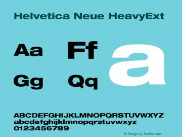Helvetica Neue HeavyExt Version 001.000 Font Sample